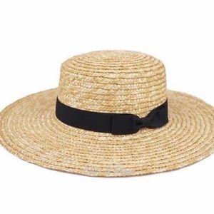 Straw Boater Flat Brim Vacation Hat